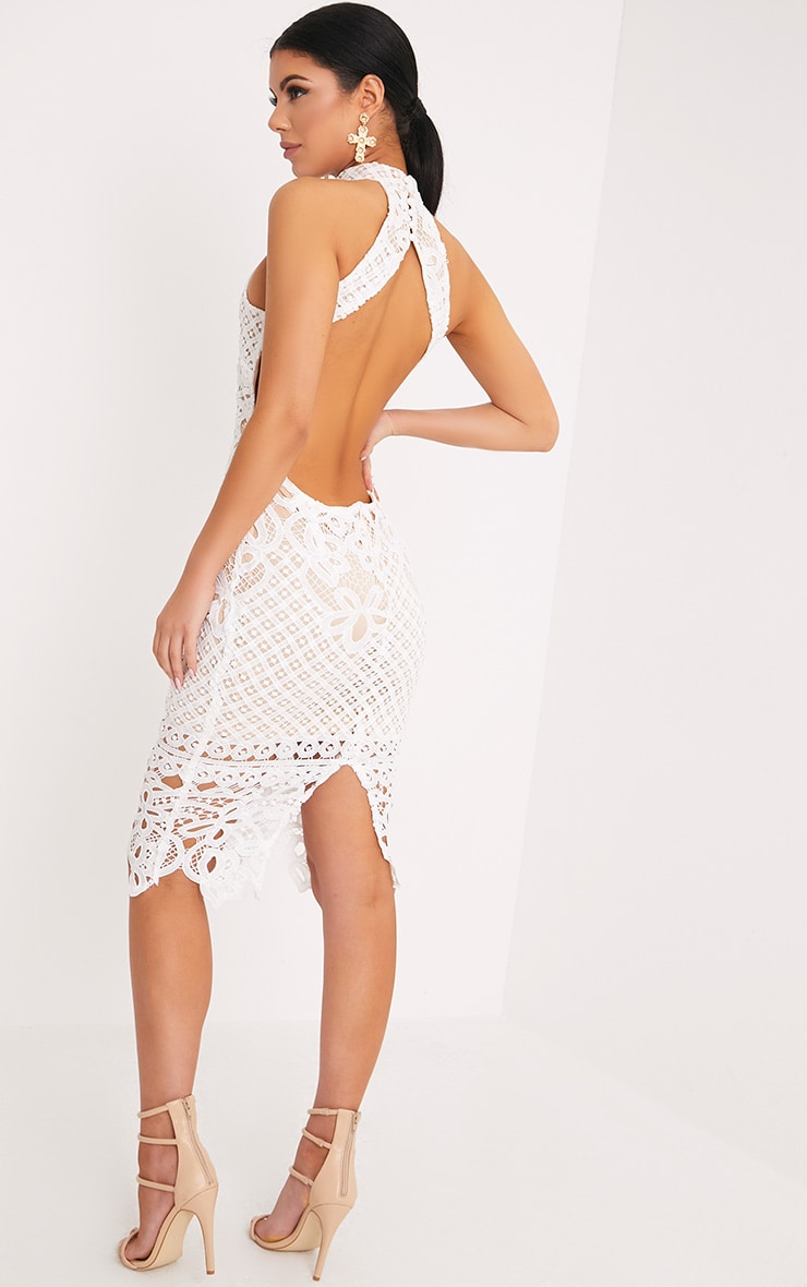 Hanny White Crochet Midi Dress 2