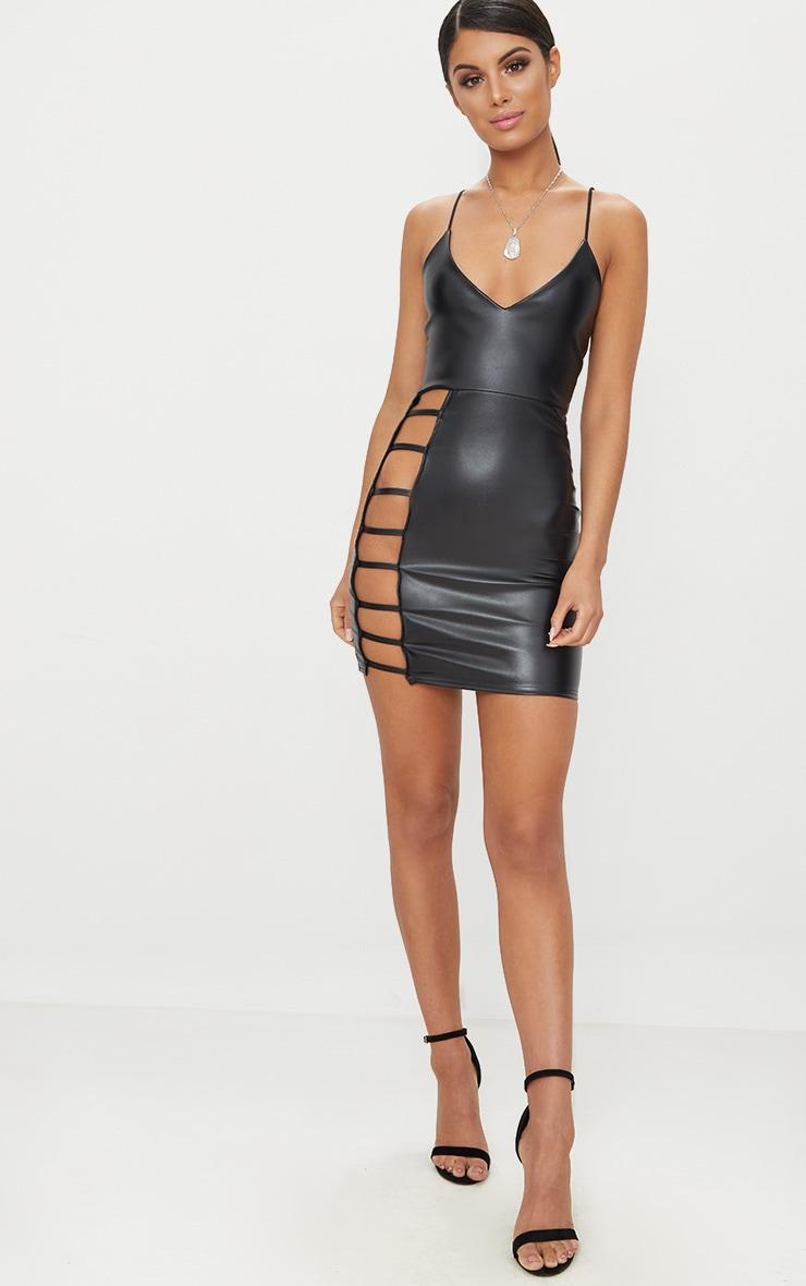 Black PU Extreme Split Bodycon Dress 4