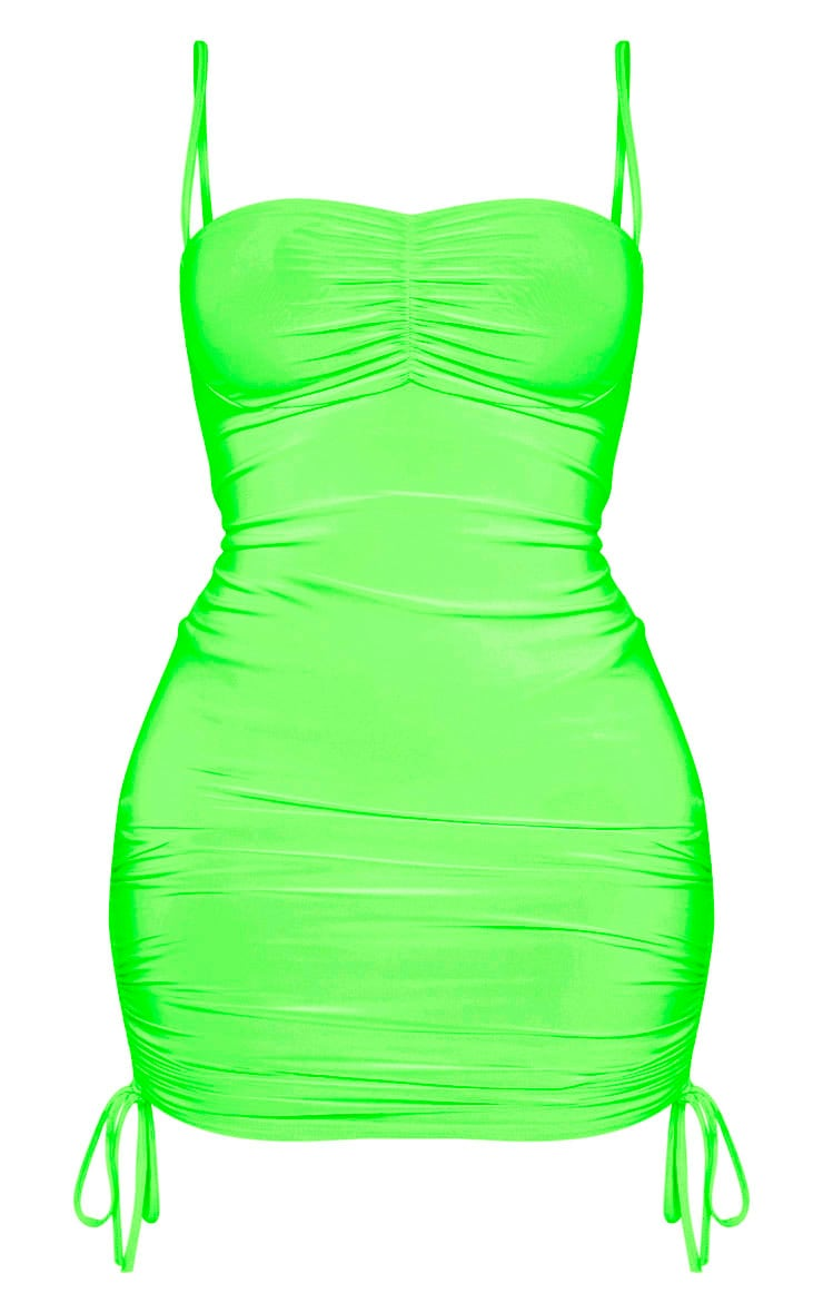 Shape Neon Lime Ruched Detail Strappy Bodycon Dress 3