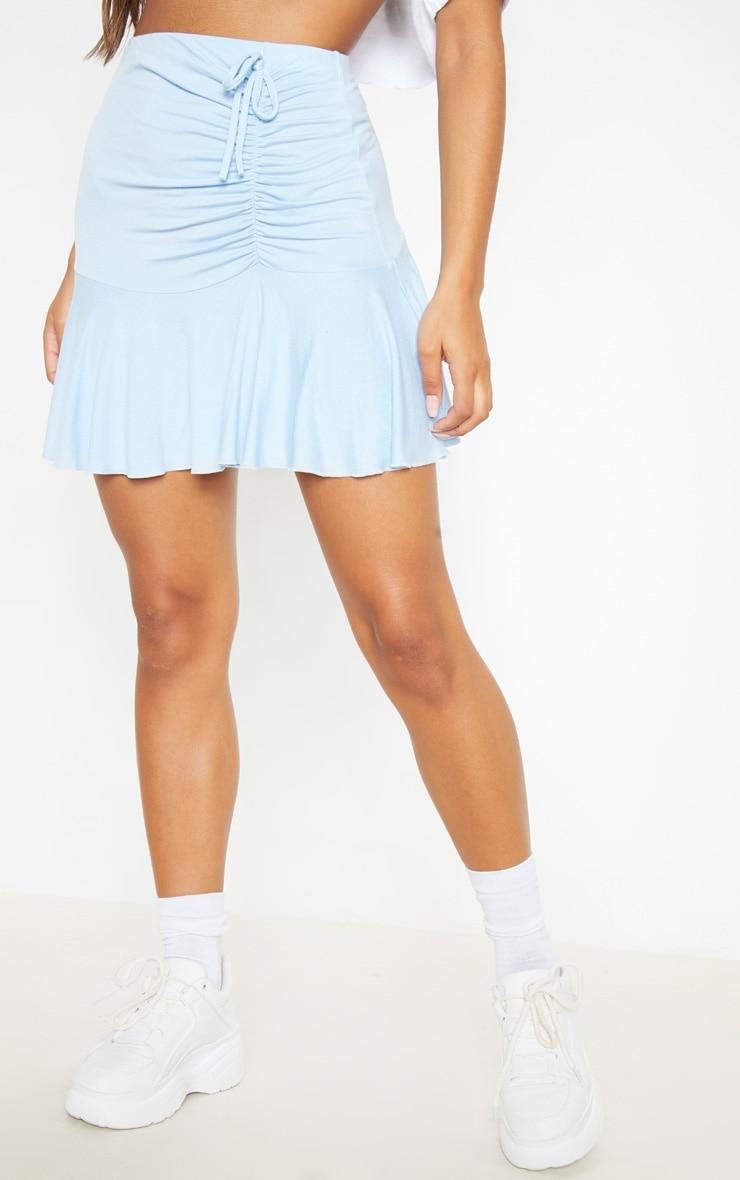 Dusty Blue Ruched Detail Frill Hem Skater Skirt  2