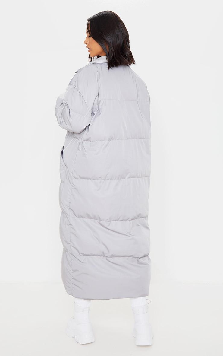 Light Grey Maxi Puffer Coat 2