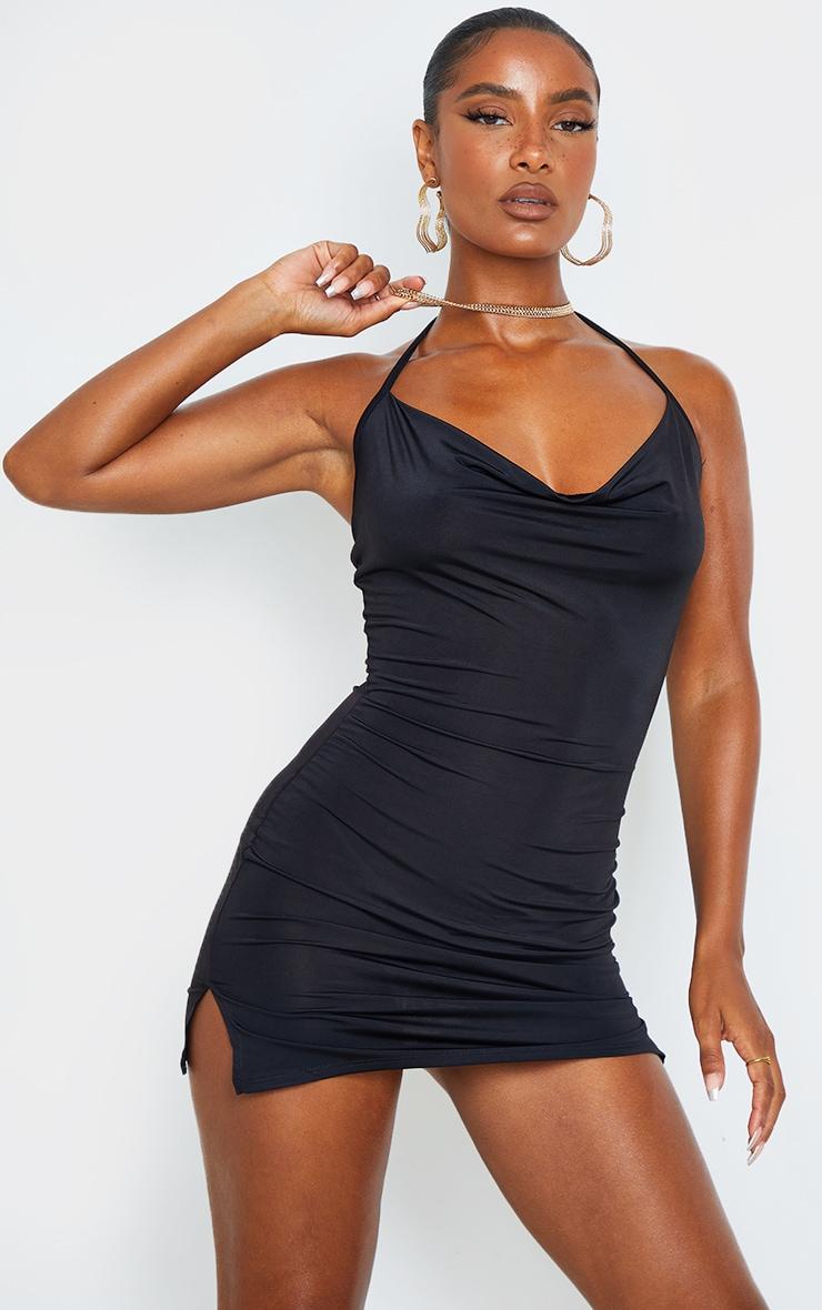 Black Slinky Halterneck Cowl Bodycon Dress 1