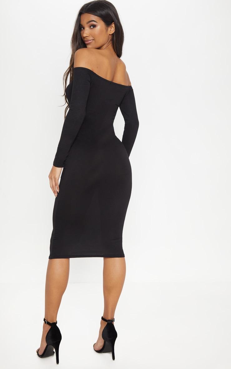 Basic robe midi bardot en jersey noire 2