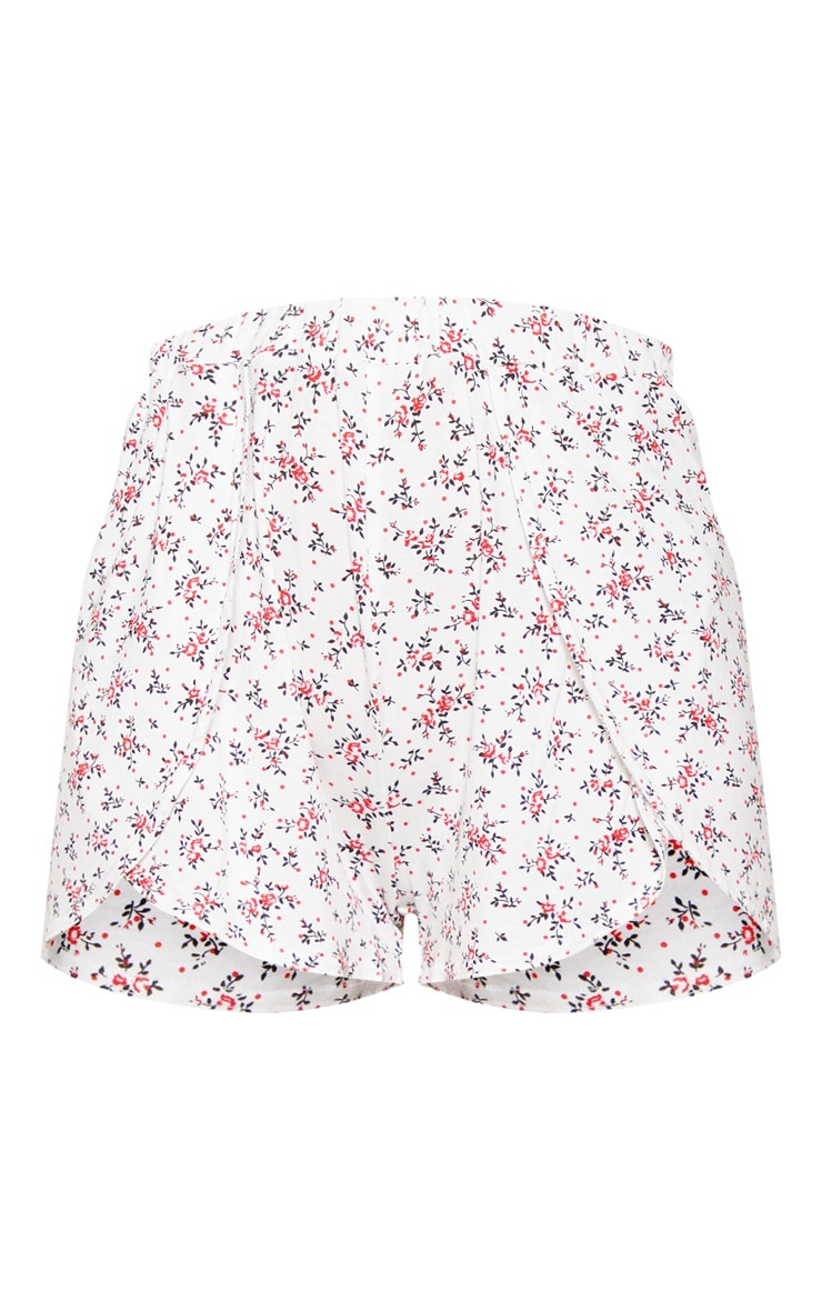White Ditsy Floral Print Floaty Short 3