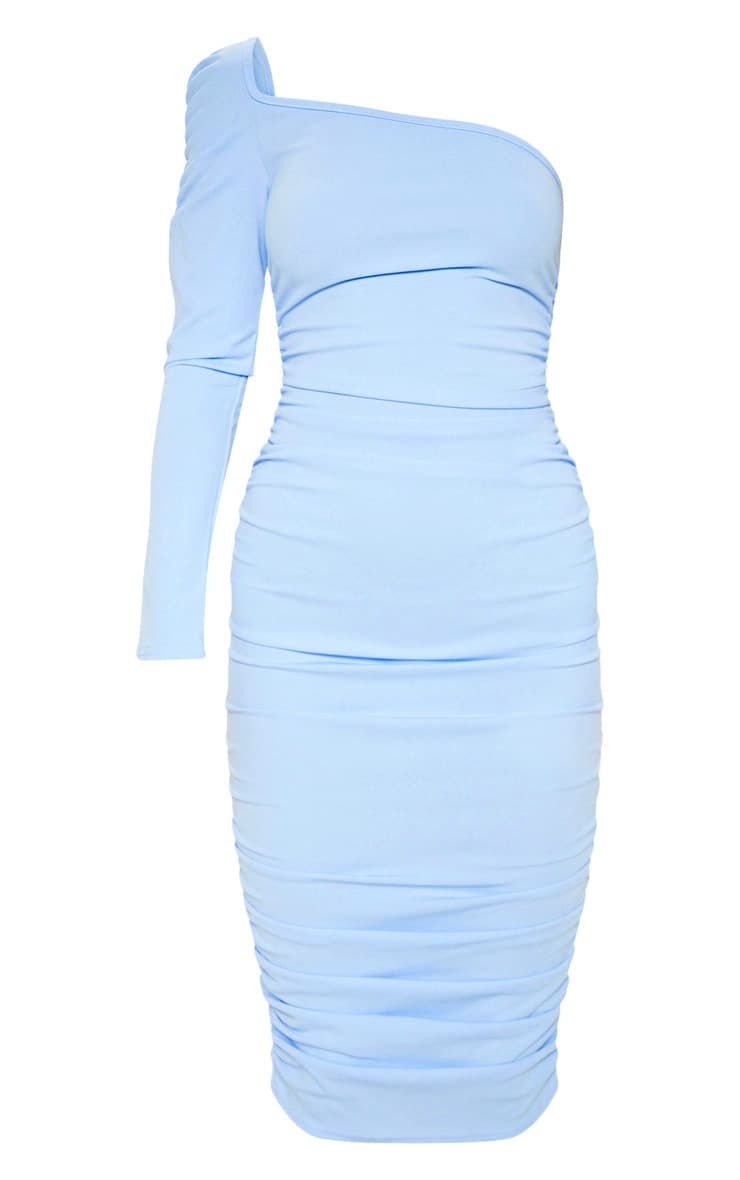 Dusty Blue One Shoulder Ruched Detail Midi Dress 3