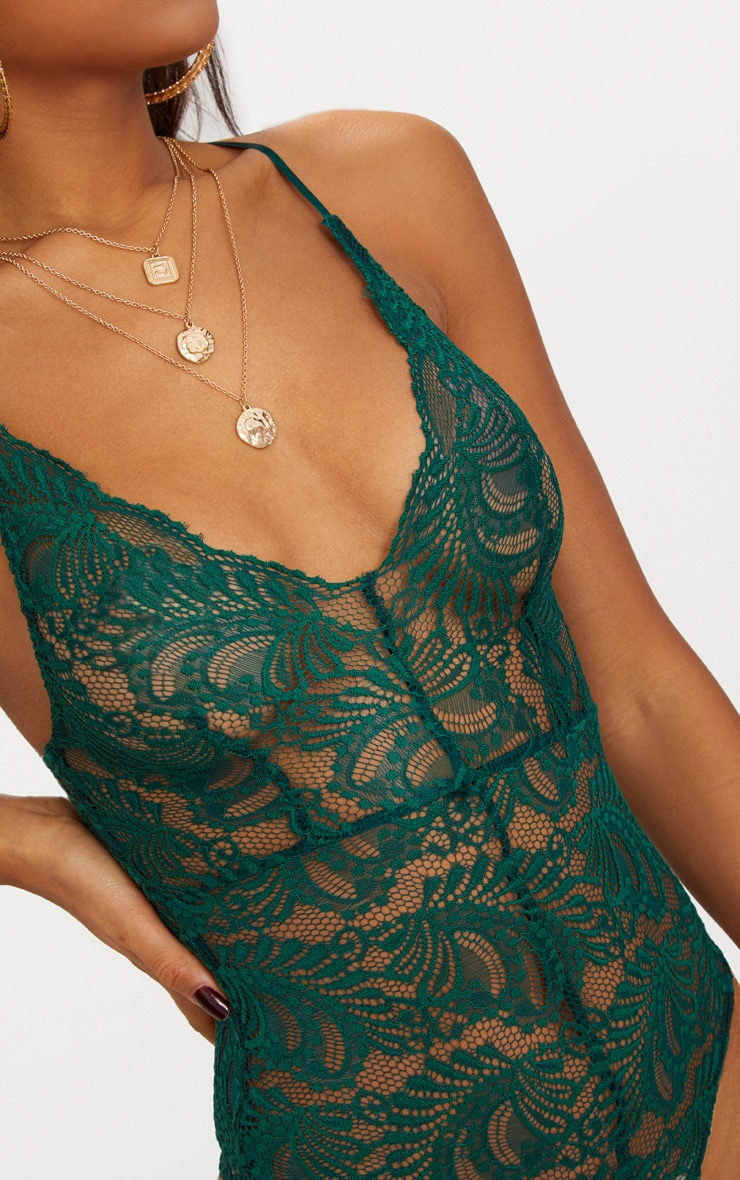 Dark Green Sheer Lace Cross Back Bodysuit 6