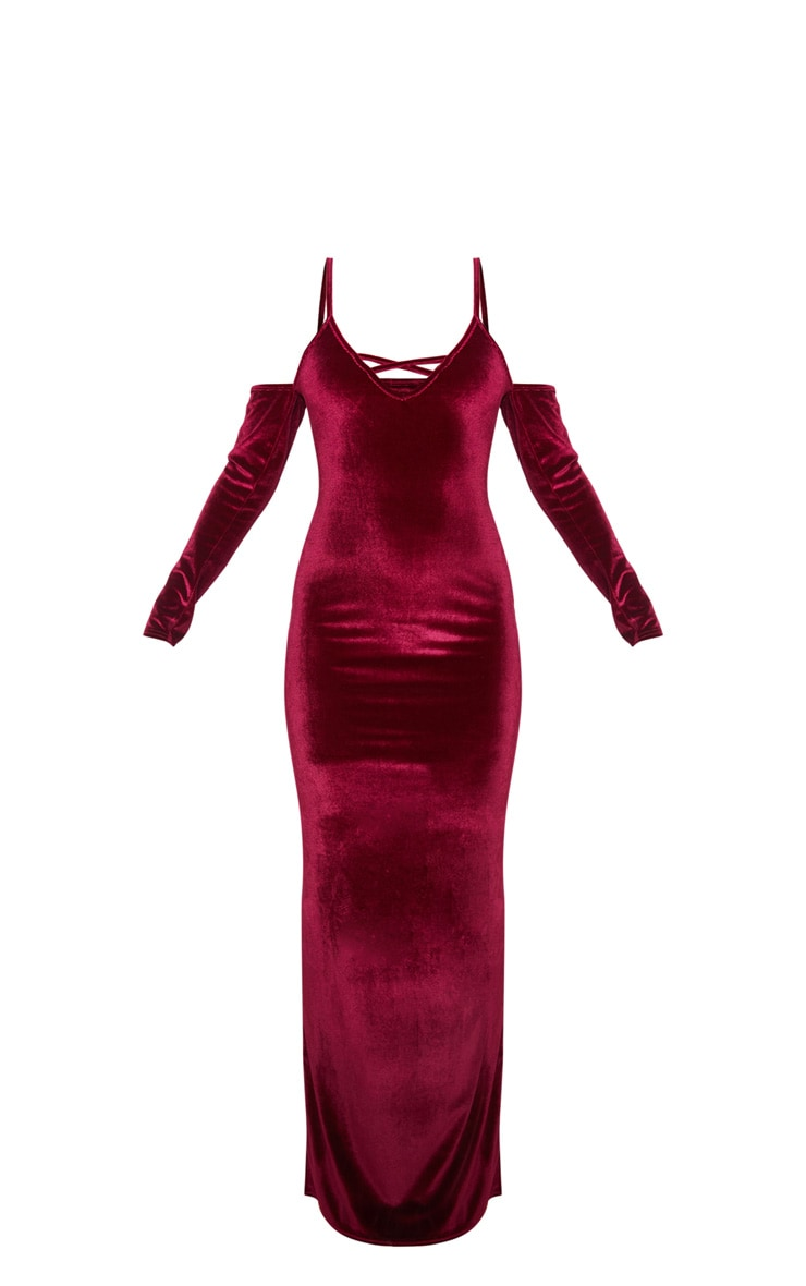 Burgundy Metallic Velvet Bardot Maxi Dress 3