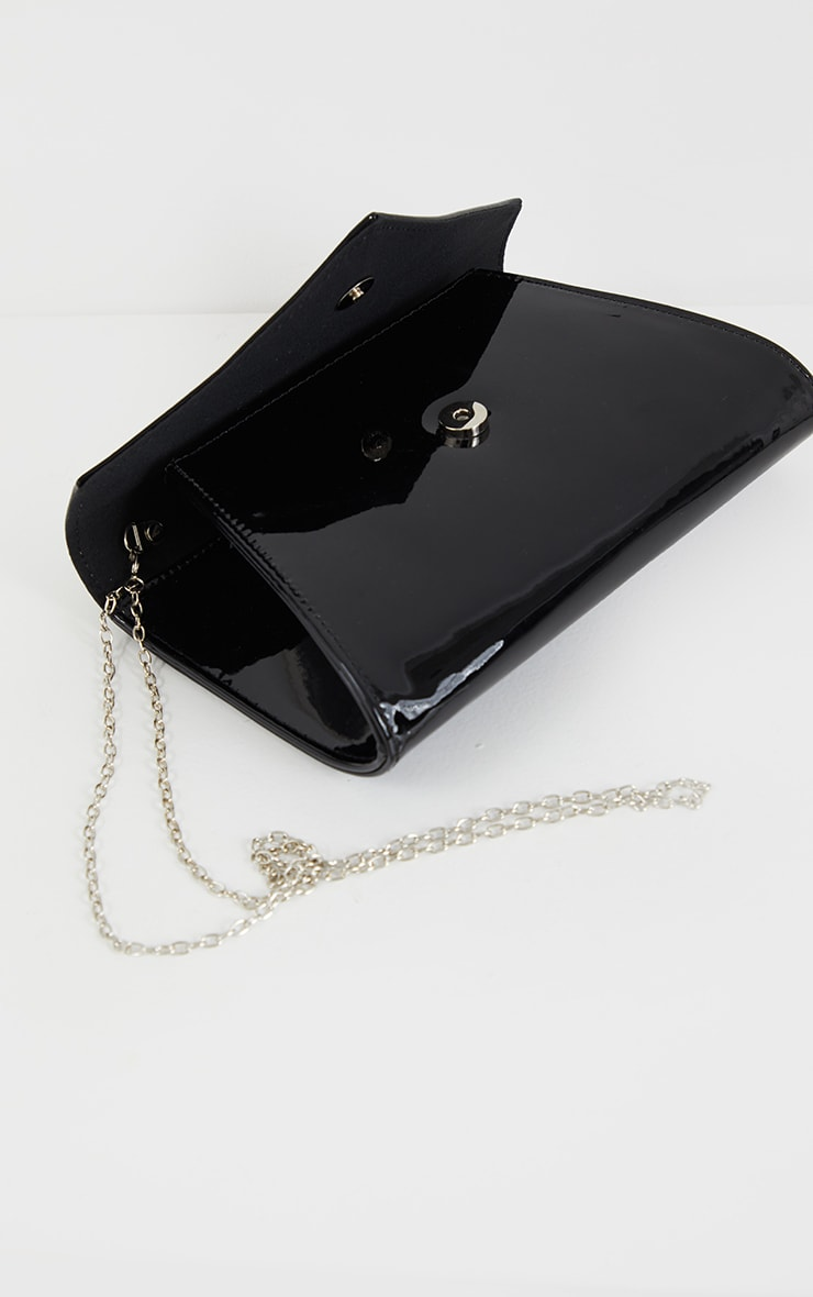 Black Patent Metallic Chain Cross Body Bag 4