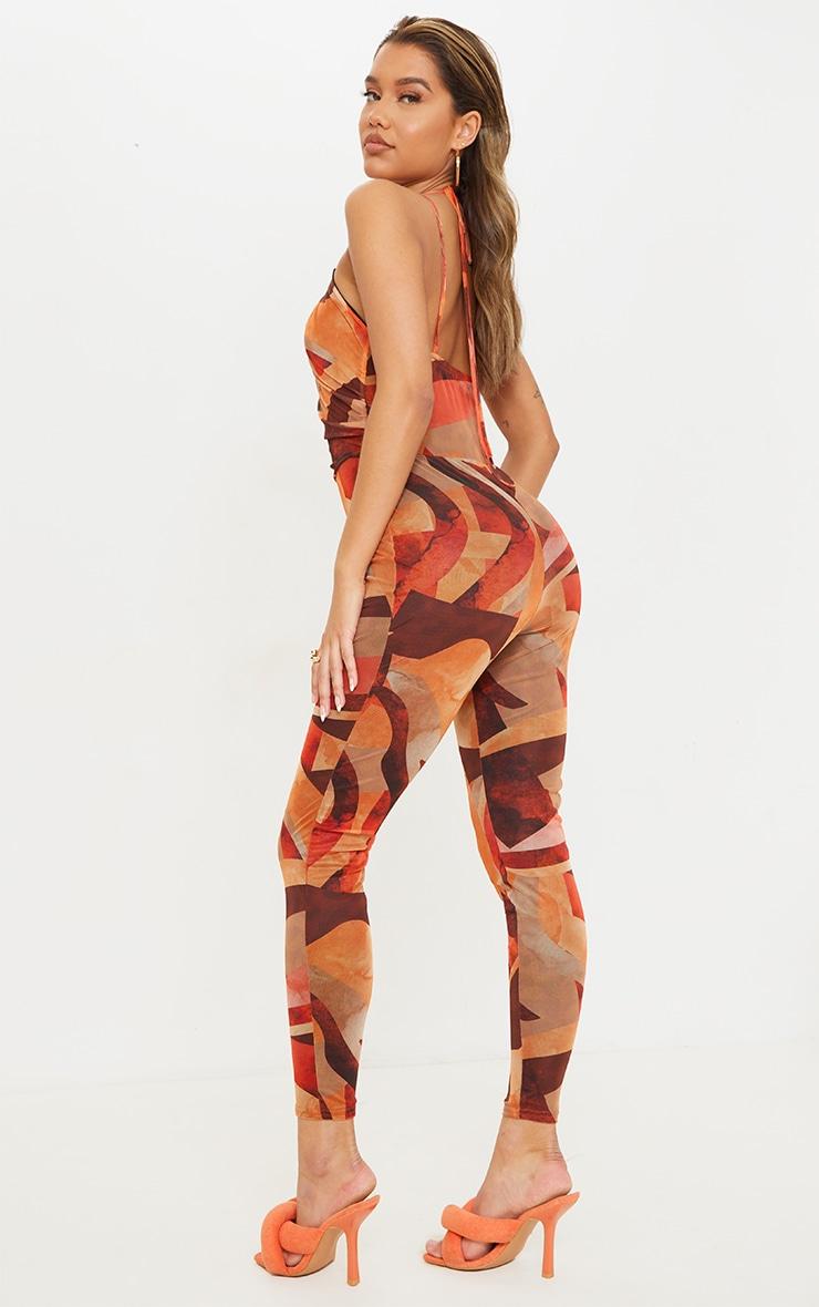 Orange Abstract Print Keyhole Mesh Jumpsuit 2