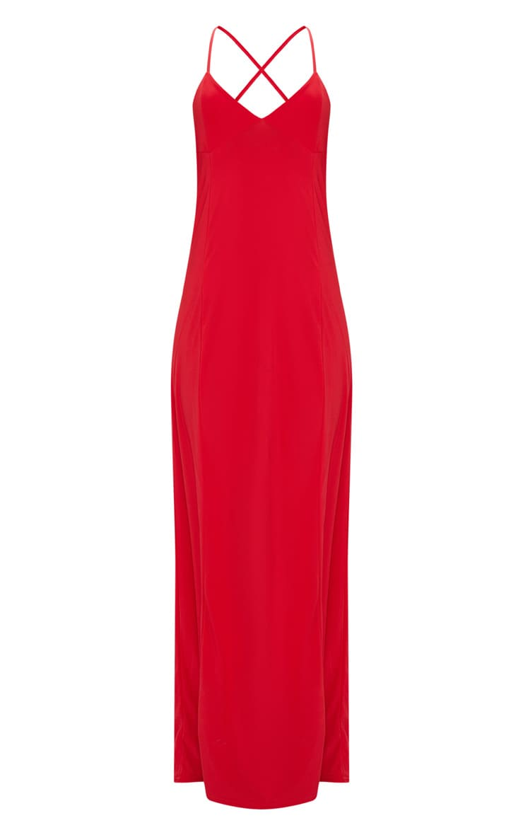 Red Slinky Backless Strappy Plunge Maxi Dress 3