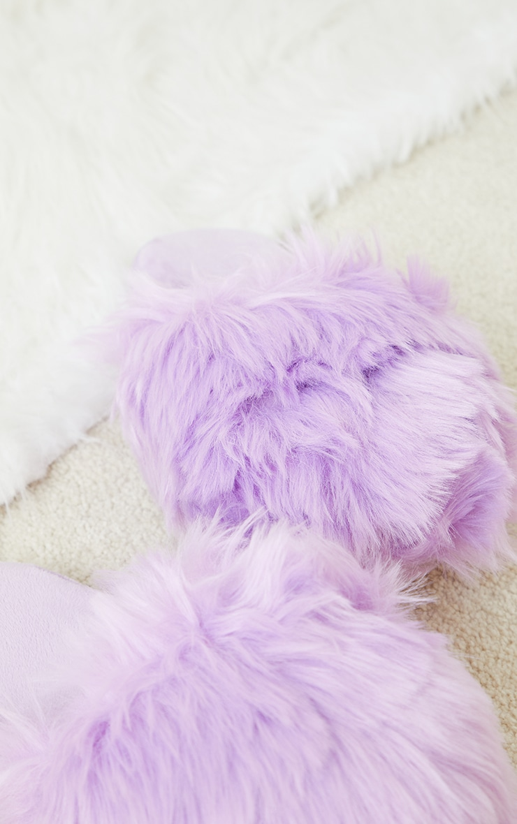 Lilac Fluffy Dome Slippers 4