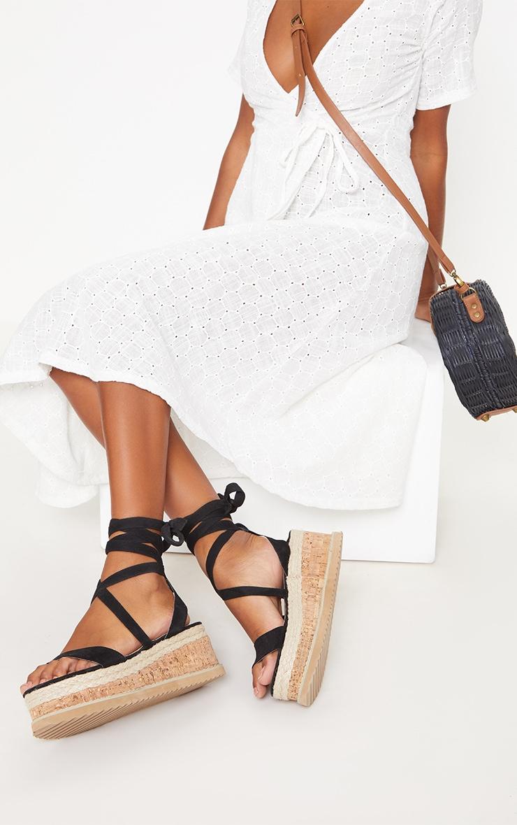 Niella Black Espadrille Flatform Sandals 1