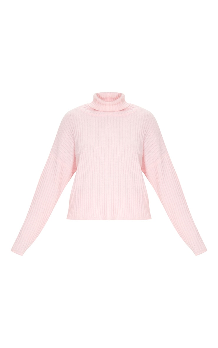 Pink Ribbed Roll Neck Textured Yarn Sweater 5