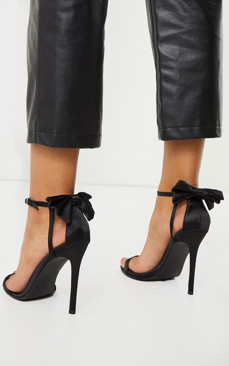 Black Satin Strappy Bow Back High Heels