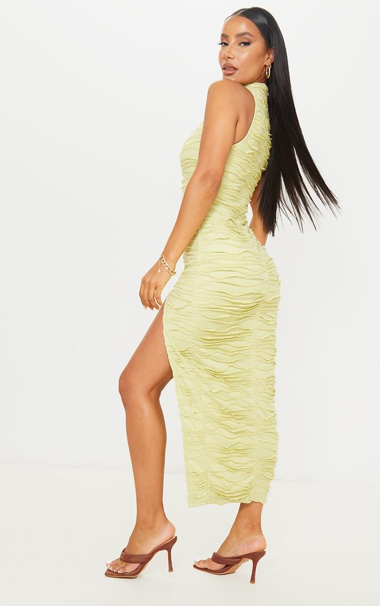 Green Exposed Seam Detail High Neck Sleeveless Midaxi Dress 2