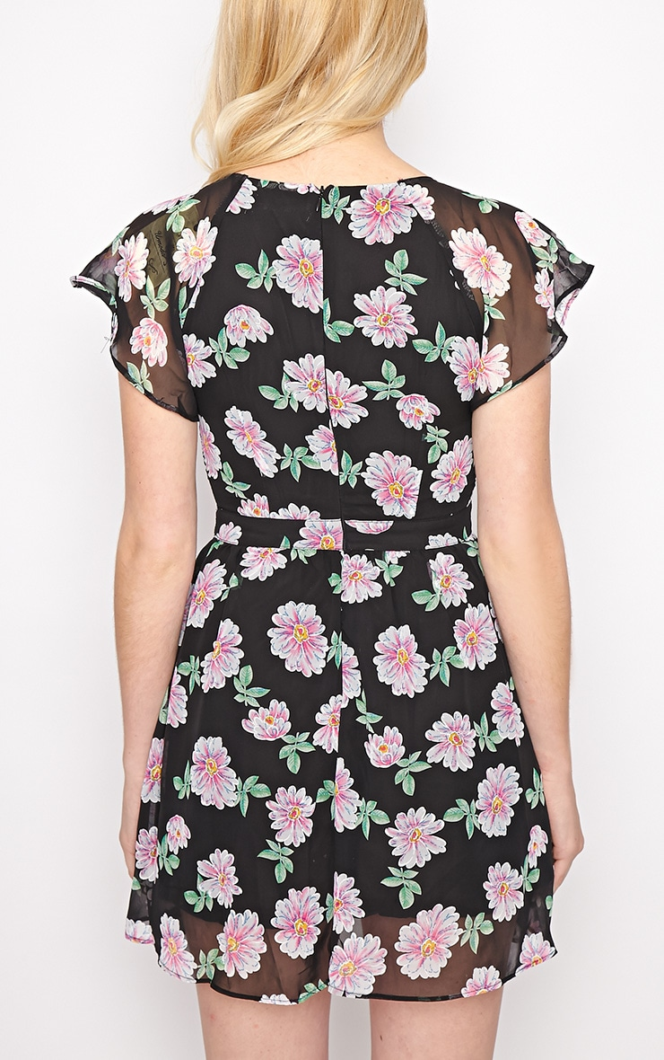 Greta Black Floral Cut Out Chiffon Dress 2