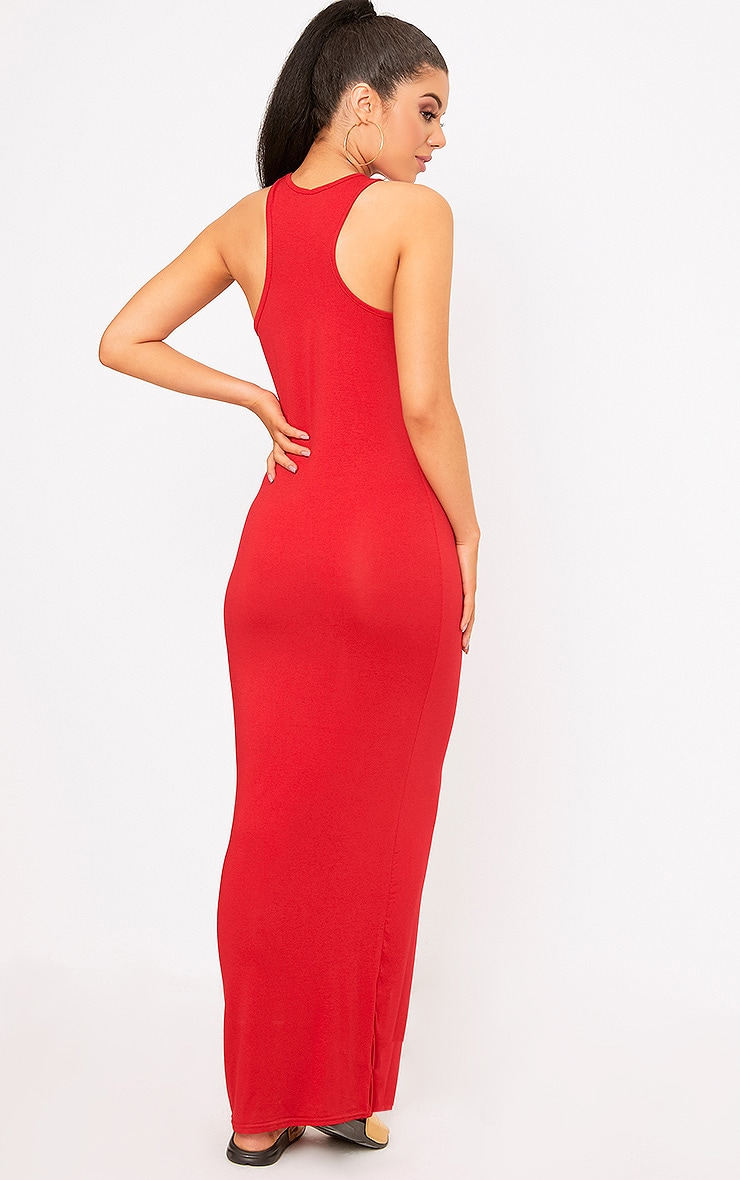 Red Jersey High Neck Maxi Dress  2