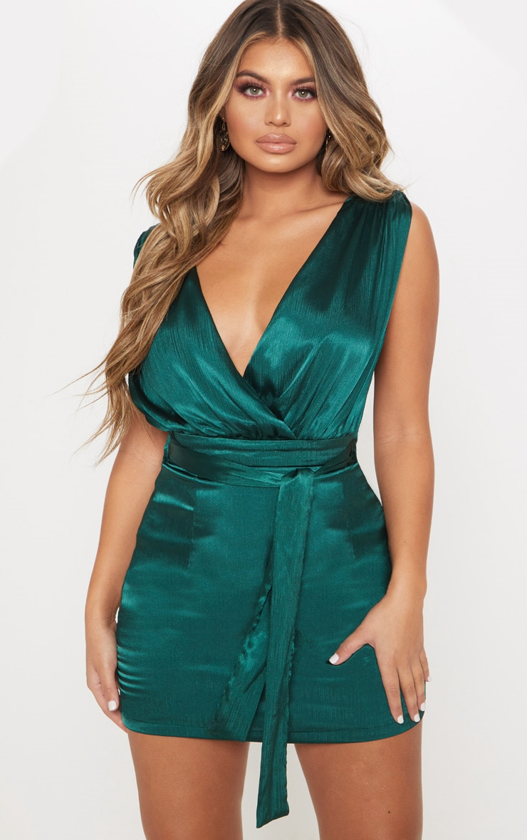 Emerald Green Satin Plunge Lace Insert Wrap Bodycon Dress 2