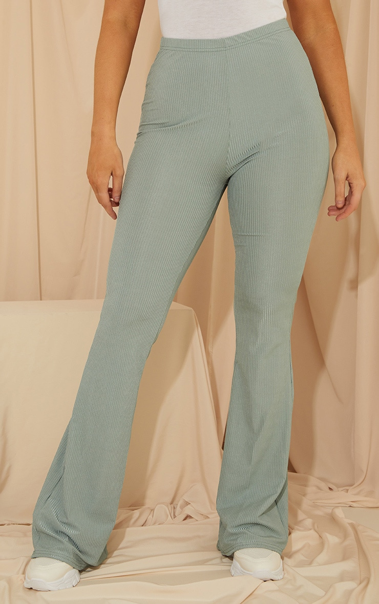 Dark Mint Shiny Rib Flared Pants 2