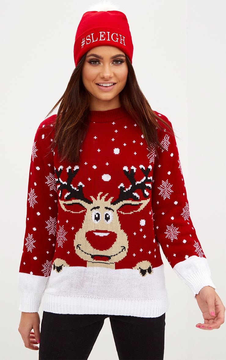 Pull de Noël rouge renne 1