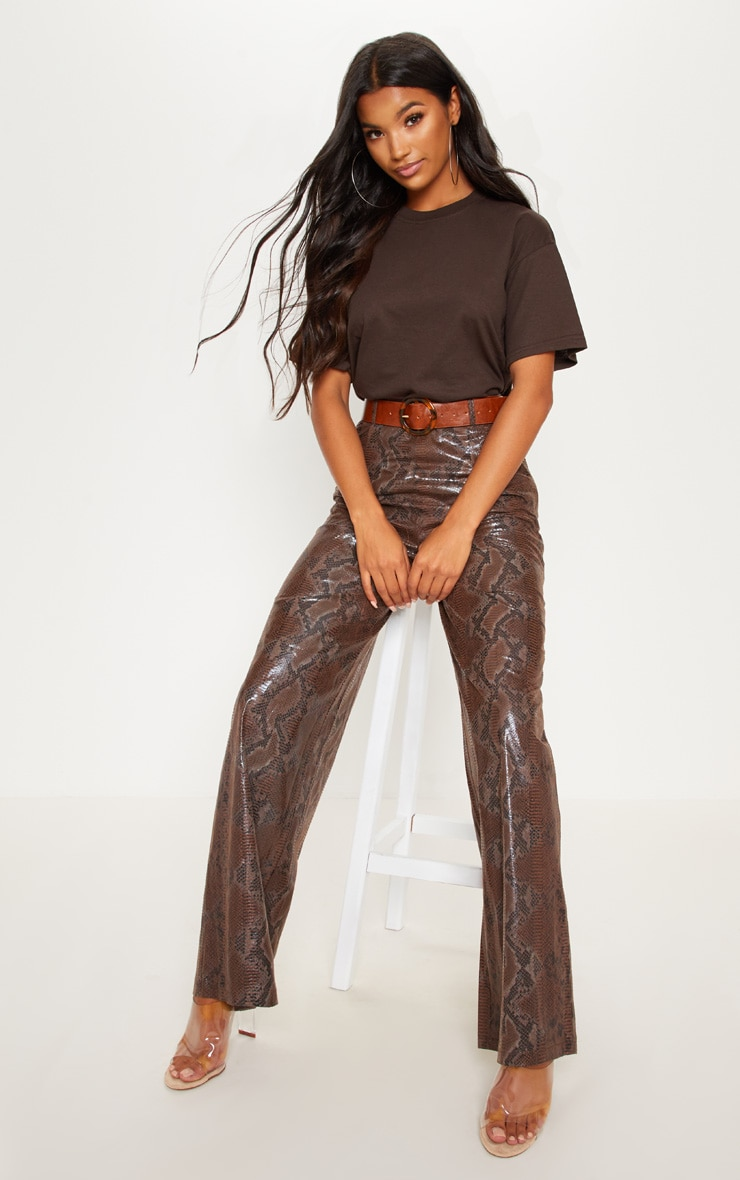 Dark Brown Faux Leather Snakeskin Wide Leg Pants 1