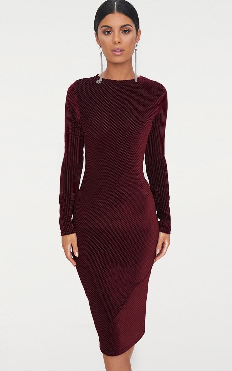 low price high fashion get cheap Robe bordeaux mi-longue à rayures en velours à manches longues