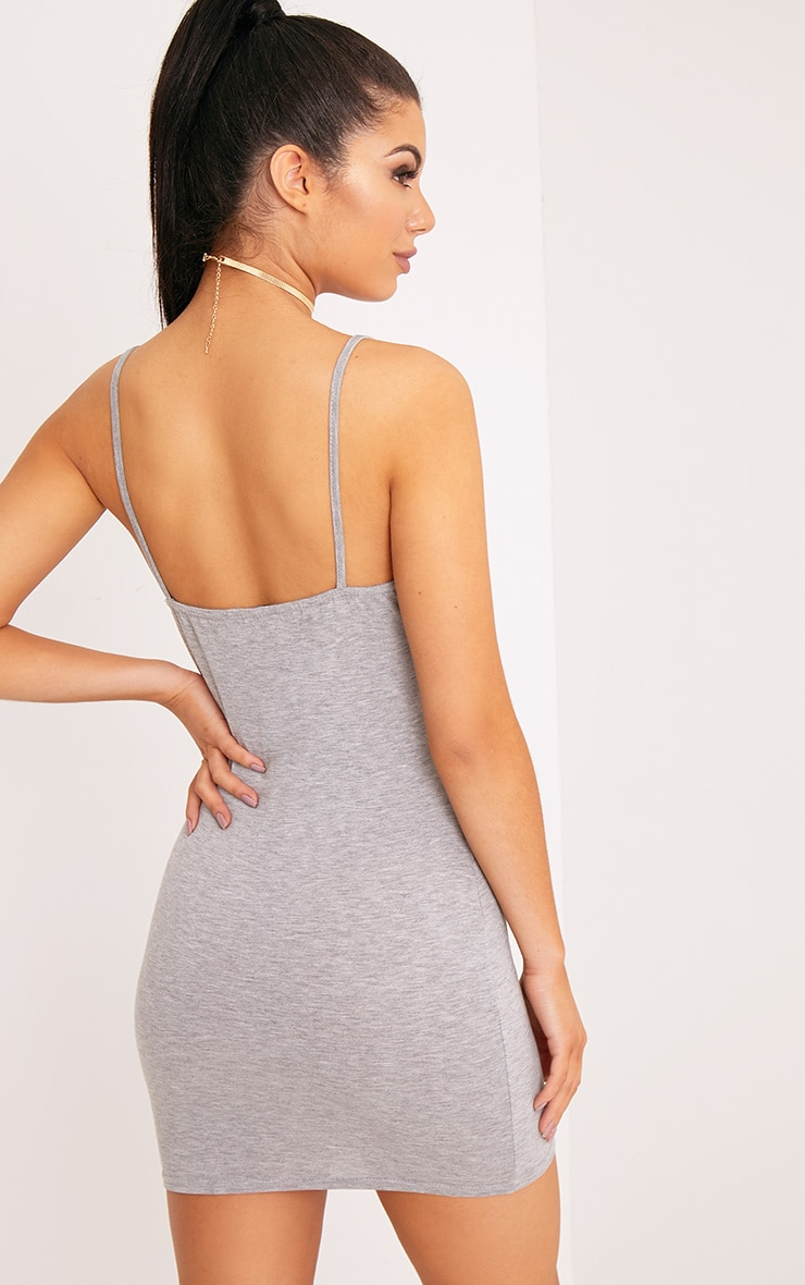 Basic Grey Marl Strappy Scoop Neck Bodycon Dress 2