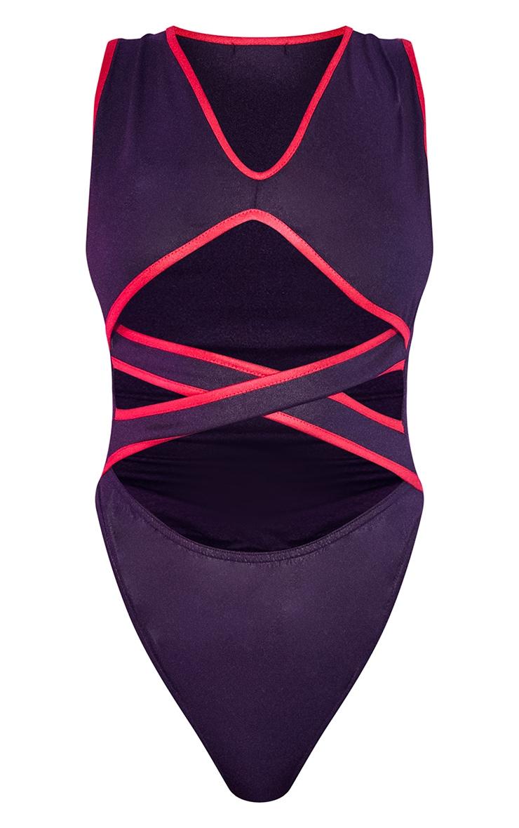 Black Wet Look Contrast Binding Bodysuit 5