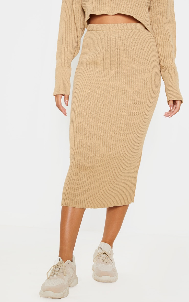 Stone Ribbed Knitted Midi Skirt 2