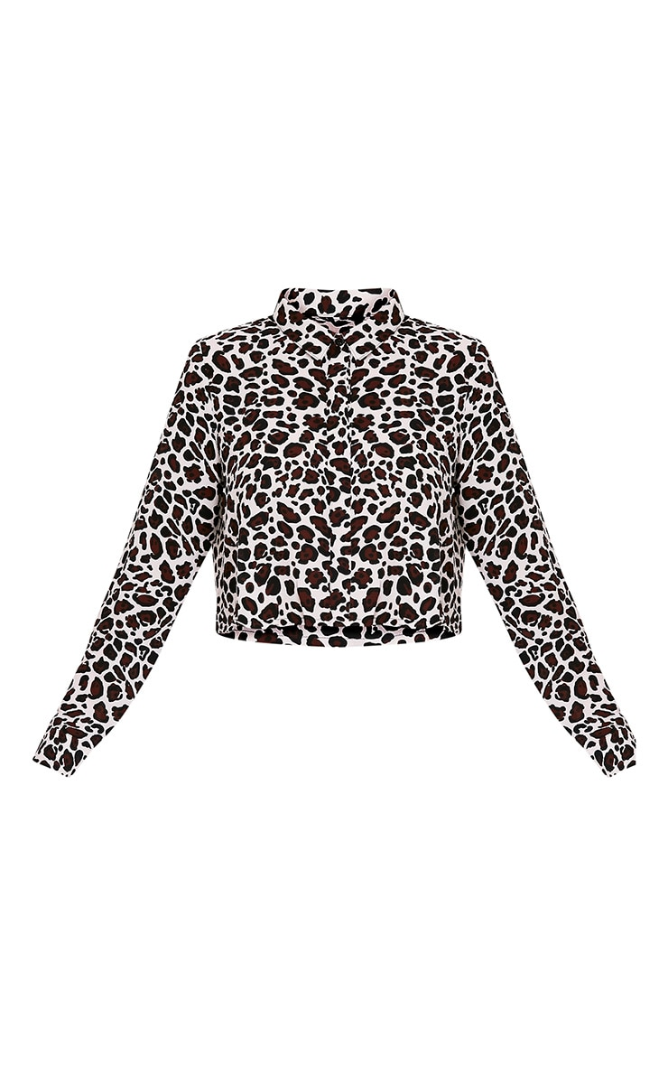 Harley White Animal Print Woven Cropped Blouse 3