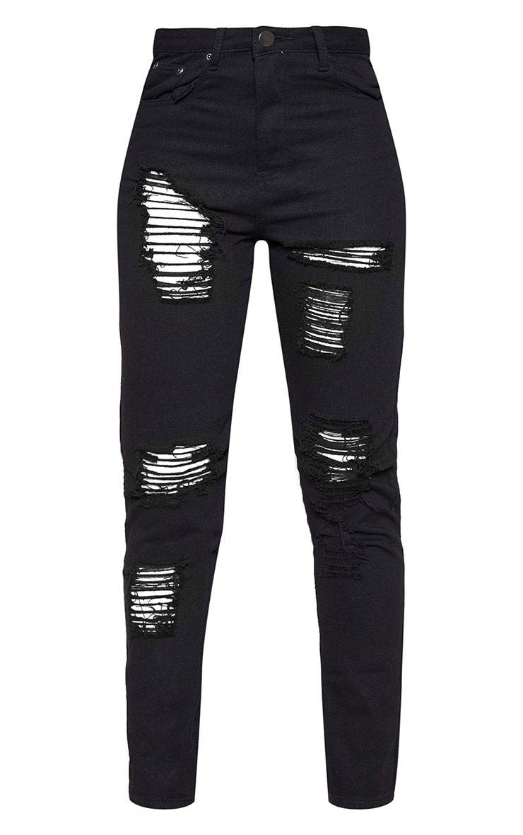 Tall Black Extreme Distressed Mom Jeans 3