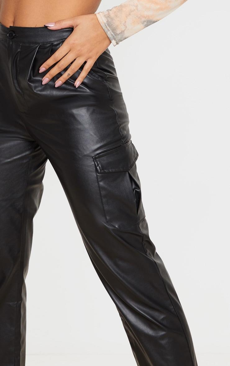 Black Faux Leather Hem Detail Straight Leg Pants 4