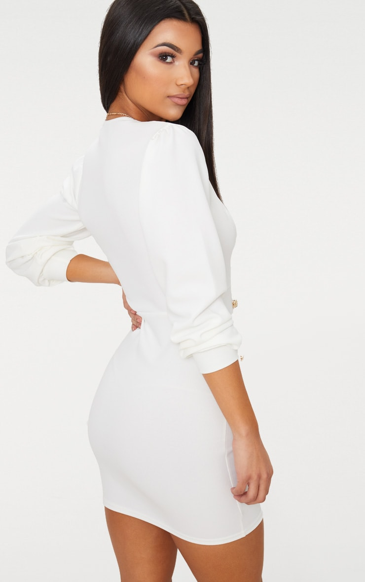 White Plunge Tux Bodycon Dress  3