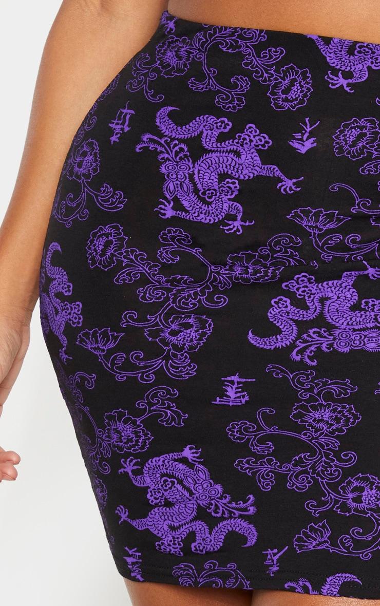 Shape Purple Dragon Print Bodycon Skirt 6