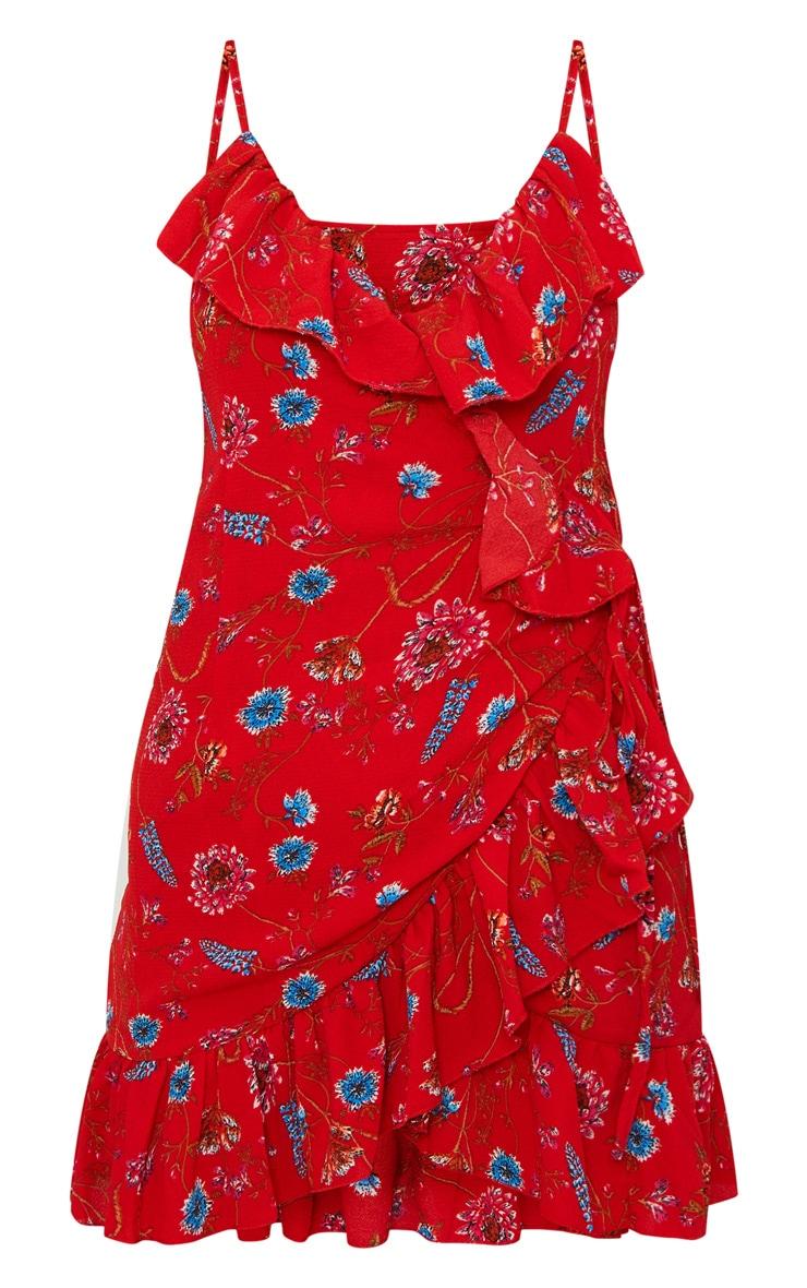 robe droite cache c ur rouge fleurs robes prettylittlething fr. Black Bedroom Furniture Sets. Home Design Ideas