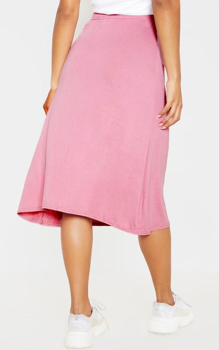 Dusty Pink Basic Jersey Floaty Midi Skirt 4