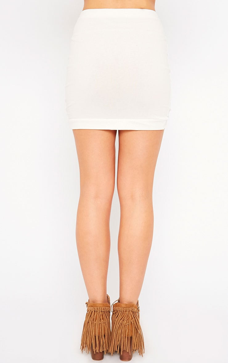 Phoenix Cream Curved Hem Mini Skirt 4