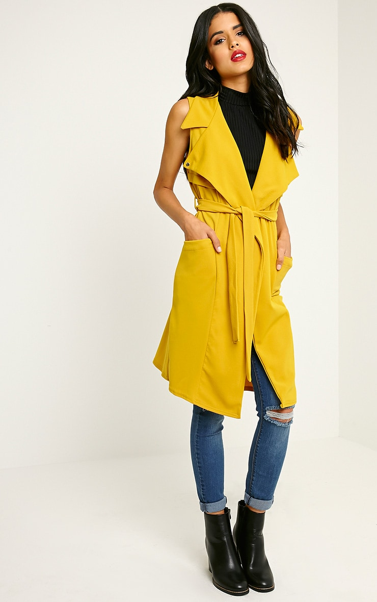 Tegan Mustard Sleeveless Duster Jacket 1