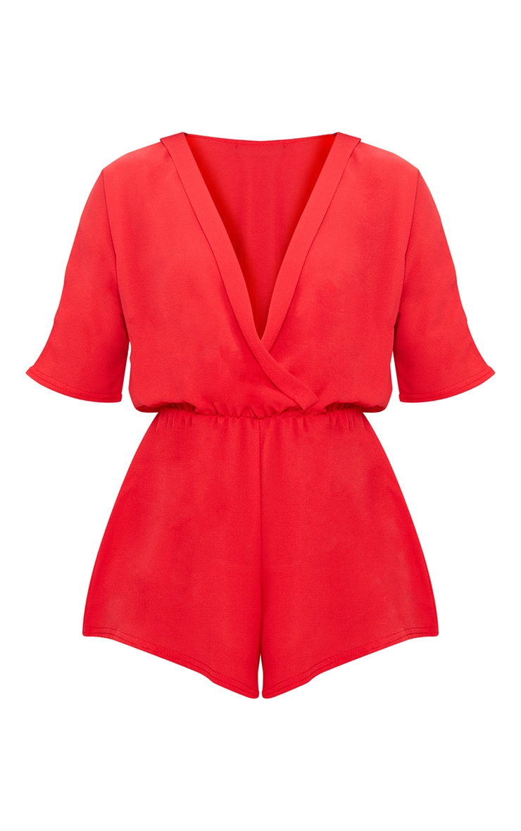 Petite Red Wrap Front Playsuit 3