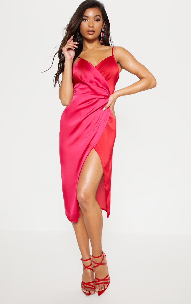 Red Colour Block Satin Wrap Detail Midi Dress