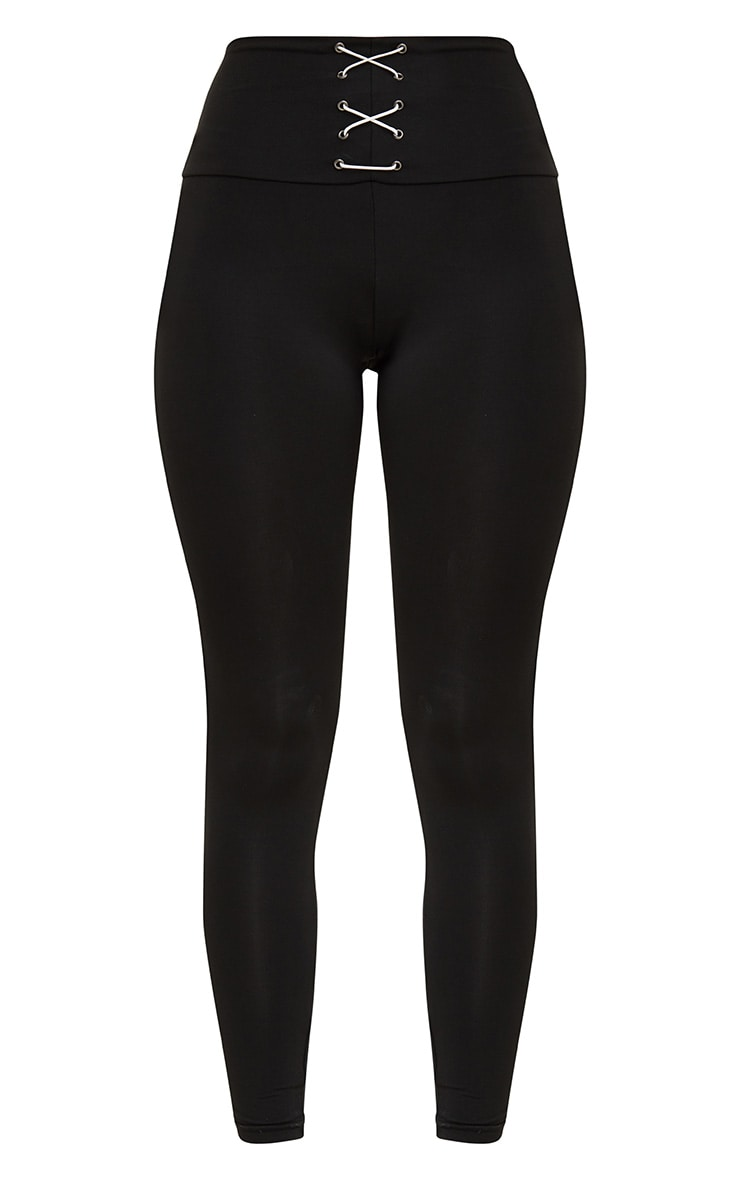 Black Corset Detail Leggings 4