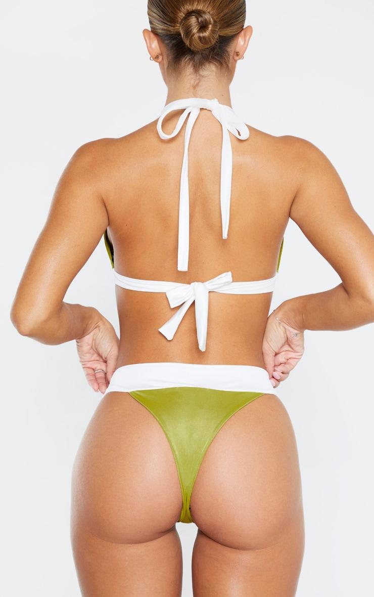 Olive Mini Contrast Bikini Bottom 3