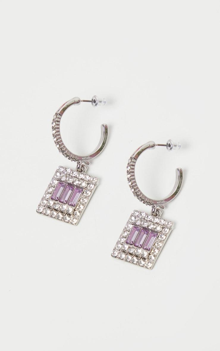 Lilac Square Crystal Hoop Drop Earrings    1