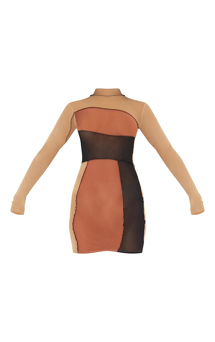 Brown Mesh Long Sleeve Contrast Bodycon Dress 5