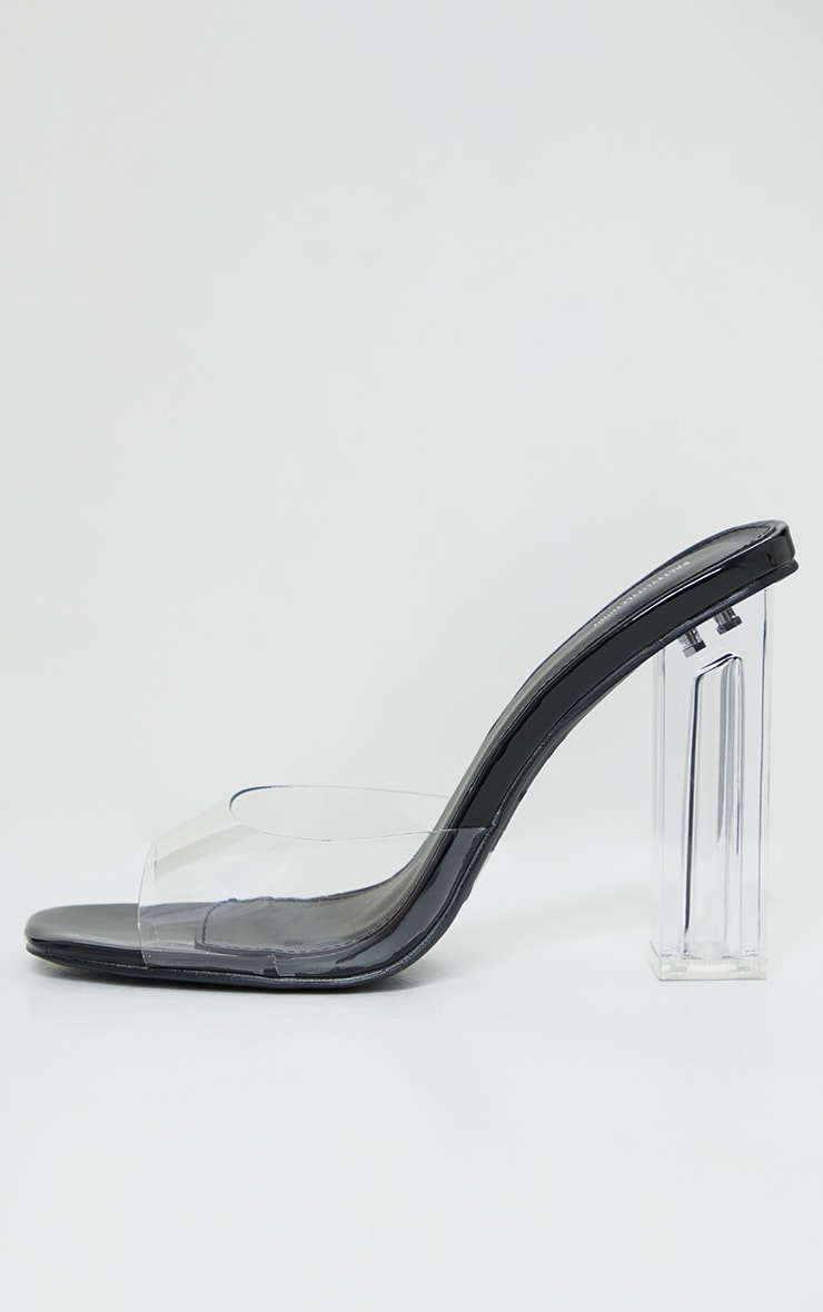Black Clear High Block Heel Low Vamp Mules 4
