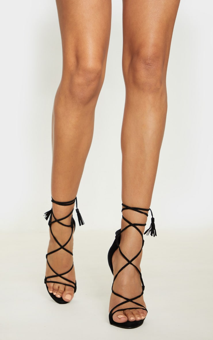 Rosaline Black Tassel Lace Up Heels 2