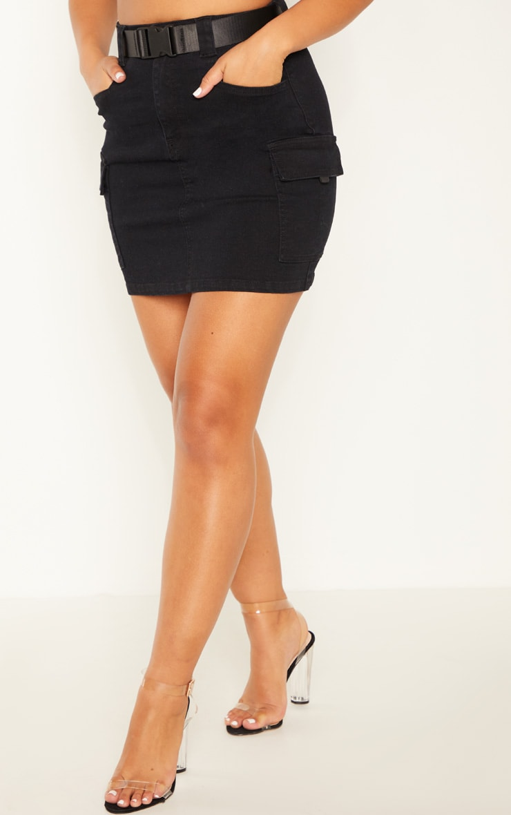 Black Cargo Pocket Belted Denim Skirt 2
