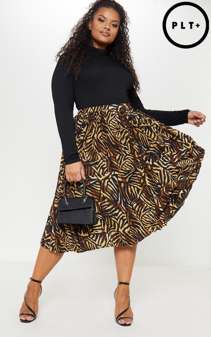 Plus Brown Tiger Print Pleated Midi Skirt 1