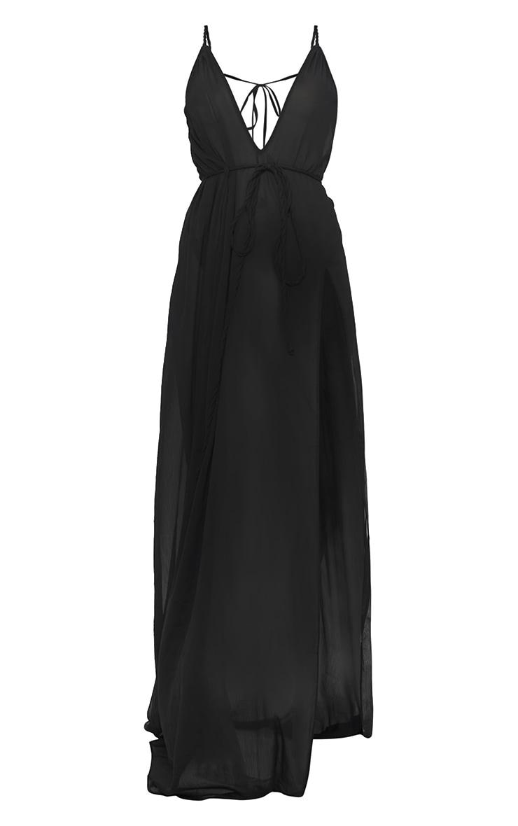 Black Plait Detail Beach Dress 5