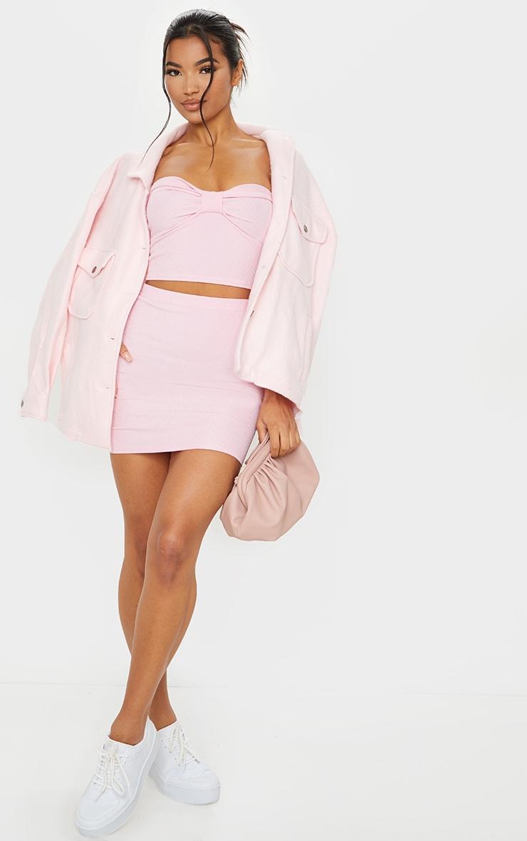 Top bandeau côtelé froissé rose bonbon noué 3